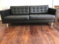 Black Leather Three-seat Sofa