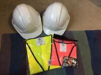 X2 white brand new hard hats and hi visit jacket