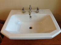 Basin with tap, pedestal and waste