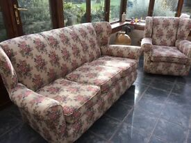 3 seater sofa & 2 arm chairs - floral design