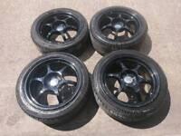 "Japanese 17"" 5x100 alloy wheels + kuhmo tyres subaru vw seat skoda toyota"