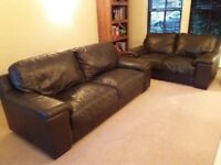 BROWN 3+2 SEATER SOFAS FOR SALE MUST GO ASAP - FREE DELIVERY SOME AREAS - £275