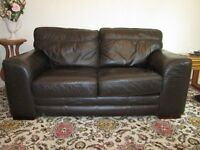 SCS matching brown leather sofas