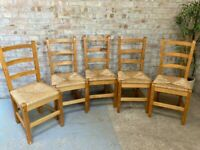 Set of 5 Pine High Back Dining Chairs with Wicker Seats