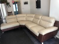 Used DFS Leather Corner Sofa - Cream and Brown - Dice