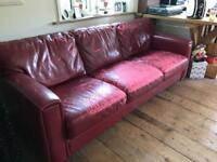 FREE Red Faux Leather 3 and 2 seater Sofas