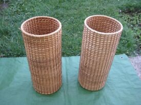 Two Matching Cane Woven Round Baskets - £3.00 each