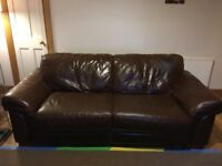 Brown Leather Sofas - 2 seater & 3 seater