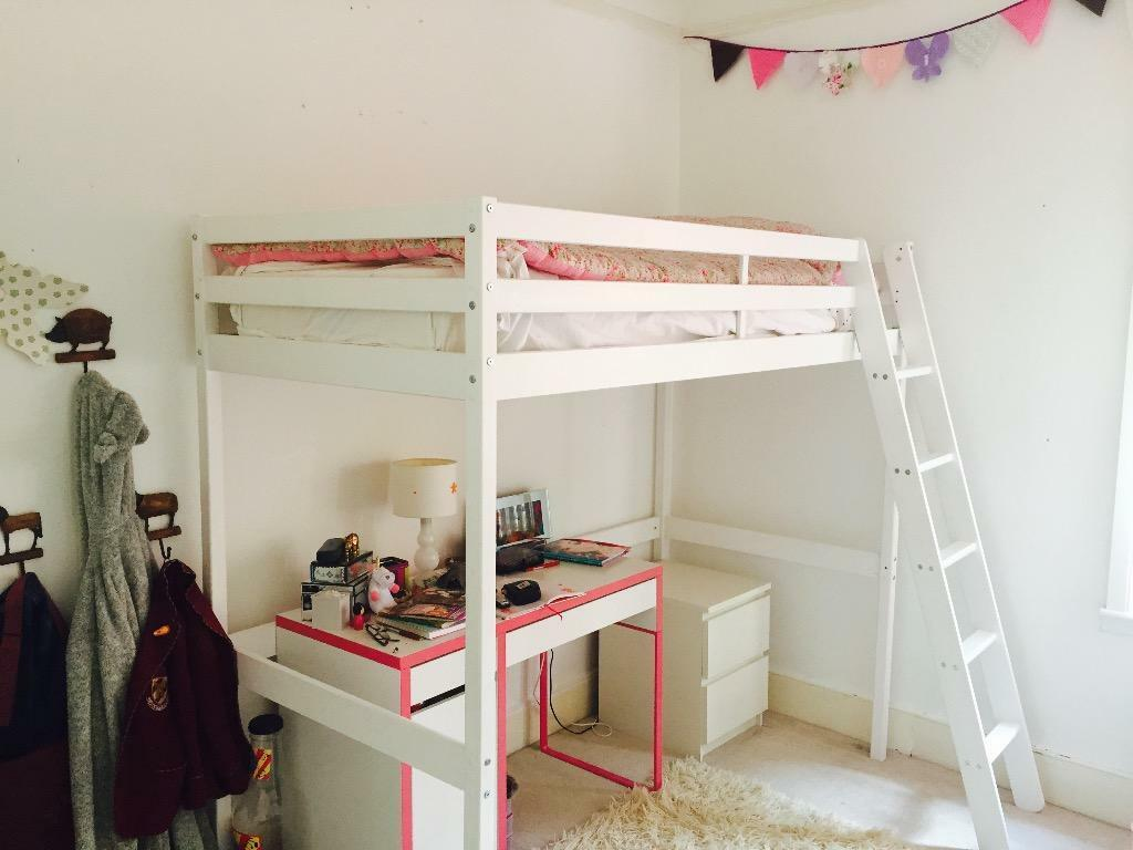 white wooden high sleeper bed for sale in clapham common