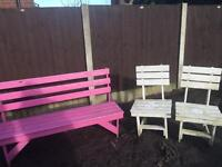 Solid wood bench set