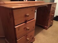Antique pine dressing table/desk with 6 drawers