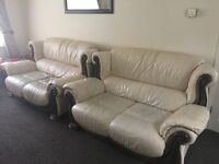 2 x 2 seater cream leather Sofa plus 1 armchair