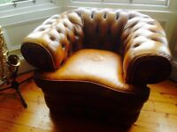 Antique Brown Leather Chesterfield Lowback Armchair