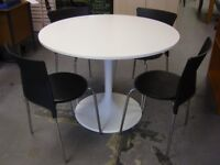 Ikea Docksta Round White Dining Table With 4 Chairs