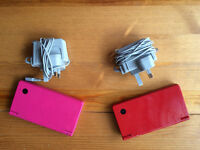 2 x Nintendo DSi 1 x red, 1 x pink with chargers and 5 games