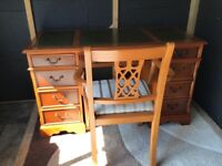 Yew wood writing desk with leather writing inlay and matching Yew wood chair