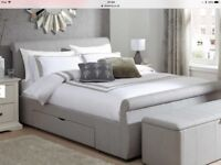 Dreams Lucia Grey Fabric Double Bed and Mattress only 5 months old like new hardly used