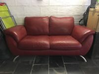Red Italian Leather Sofa - £50