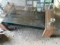 Walnut and glass coffee table