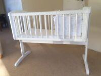 White Wooden cot/crib (John Lewis)