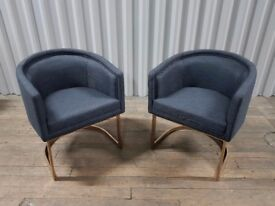 4 Grey Fabric Coach House Accent / Dining Chairs With Rose Gold Base BNWT - quantity available