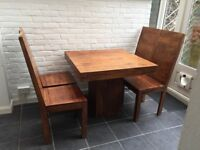 Beautiful Indian Hardwood Dining Table & 4 Chairs