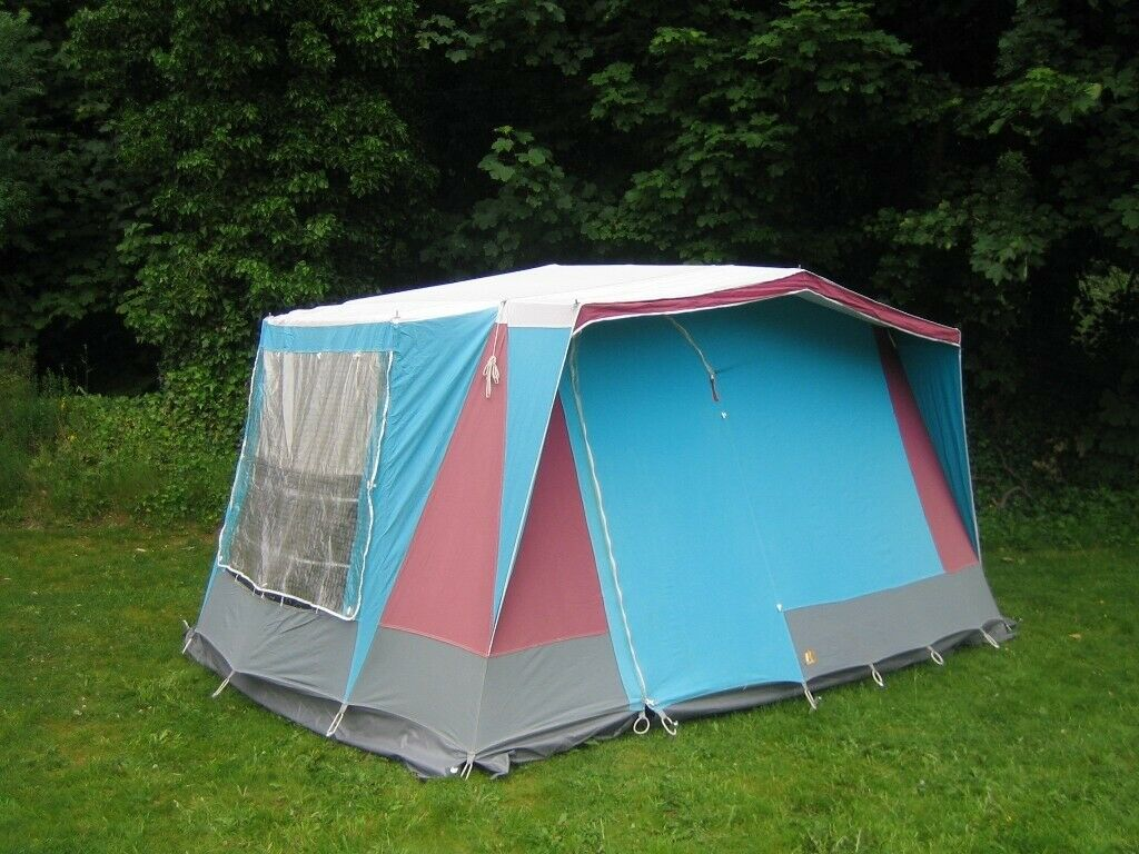 Vintage Relum Canaria K 4 person cotton canvas frame tent, with full length covered canopy. | in Didsbury, Manchester | Gumtree