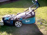 LAWN MOWER, LARGE CUT 42CM. 5 DIFFERENT HEIGHT CUTTINGS DOWN TO 25CM ELECTRIC ALL GOOD.