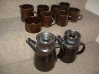 Beautiful Vintage Nick Williams Studio Pottery 10 Piece Coffee Set