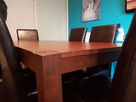 Dining Table and 6 Leather Style Chairs