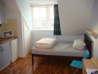 Great value double studio flat near Fulham, Earls Court and West Kensington. All bills included.