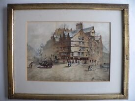 Watercolour Painting of the Royal Mile Dated 1883 and Signed Paterson