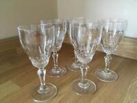 5 x Crystal cut sherry glasses