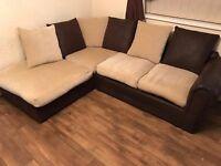 Beige & Brown Corner Sofa