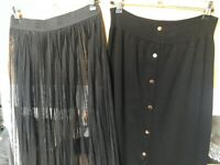 Two Black Long Skirts 1 Sheer, 1 with button detail