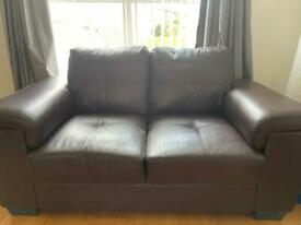 2 Seater Faux Leather Sofa with Throw