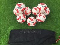 9 Mitre Impel Footballs Size 4 with Bag