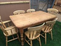 Charming farmhouse solid pine dining table with 6 chairs