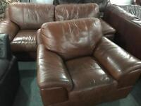 Brown leather 3 and 1 sofas