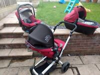 Jane transporter travel system including pram, pushchair, car seat and isofix base
