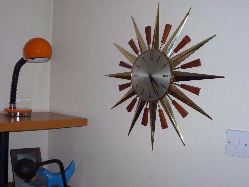 Vintage Sunburst Wall Clock - Mid Century Retro Metamec Teak/Brass