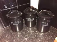 Tea coffee and sugar jars