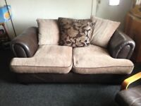 2,2 seaters' half brown leather sofa'