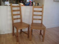 Pair of Solid Pine Kitchen / Dining Chairs - Good condition