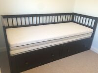 Ikea Hemnes Solid Wood Extendable Day-bed or Sofa Bed - Black-Brown (with two mattresses) w/ storage