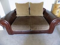 2 & 3 Seater brown leather & fabric sofas
