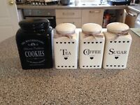 Set of 4 tea coffee sugar and cookie jars for sale 2nd hand but in excellent condition