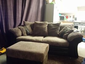 3 seater sofa and large storage footstool