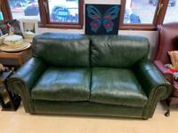 Stunning green leather Chesterfield style sofa