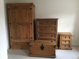 Corona Mexican pine furniture set: wardrobe, drawers, chest, bedside table